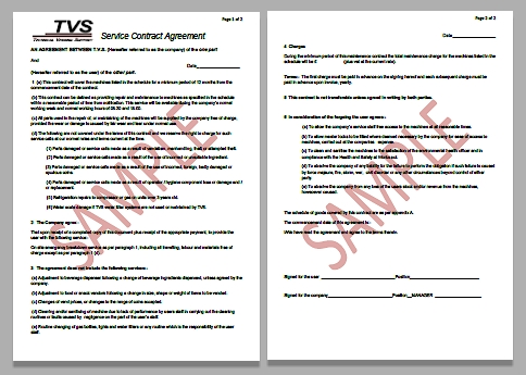 Click Here To View The PDF Sample Of A TVS Contract  Maintenance Contract Sample